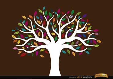 Weißer Stammbaum mit farbigen Blättern