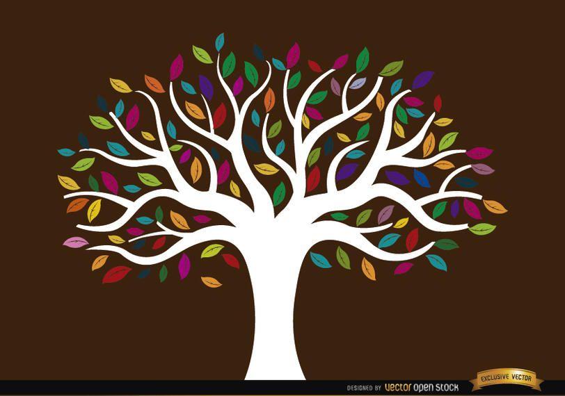 Tronco branco, árvore, com, colorido, folhas