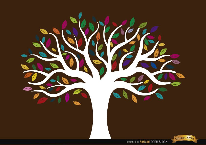 ?rbol de tronco blanco con hojas de colores