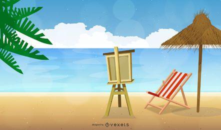 Praia do mar de verão com placa de arte