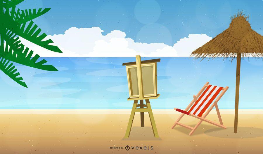 Playa de mar de verano con tablero de arte