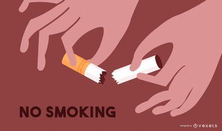 Zerstörte Zigaretten mit Rauchverbot