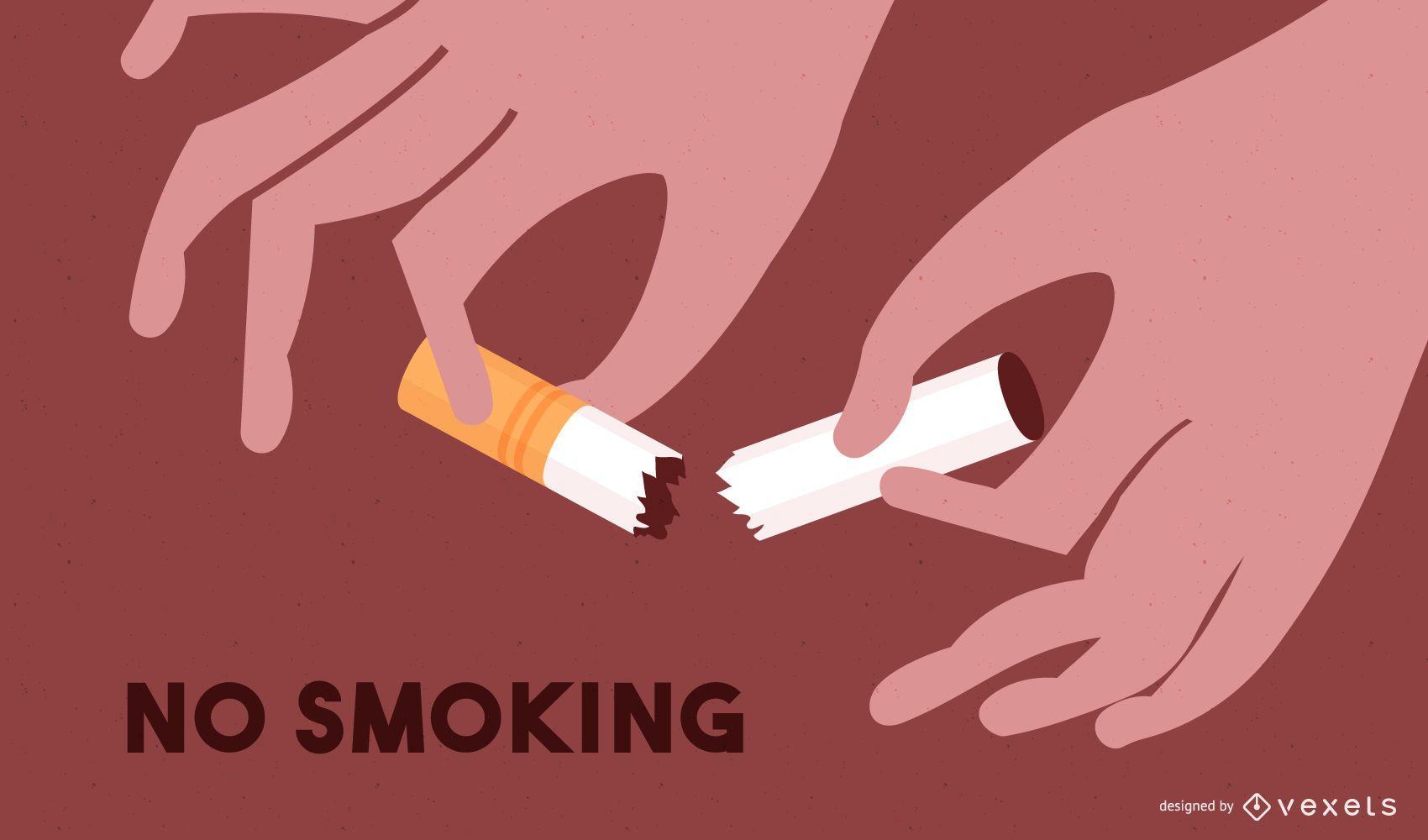 Cigarrillos destruidos con mensaje de no fumar