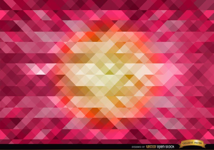 Naranja en fondo poligonal rosa central.