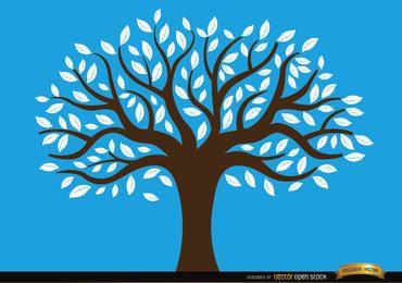 Gezeichneter Baum mit weißen Blättern