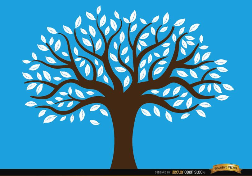 Drawn tree with white leaves