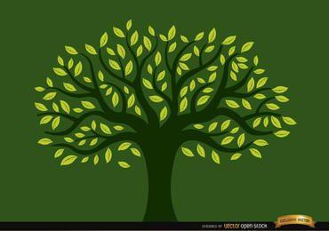 Árbol pintado lleno de hojas amarillas.