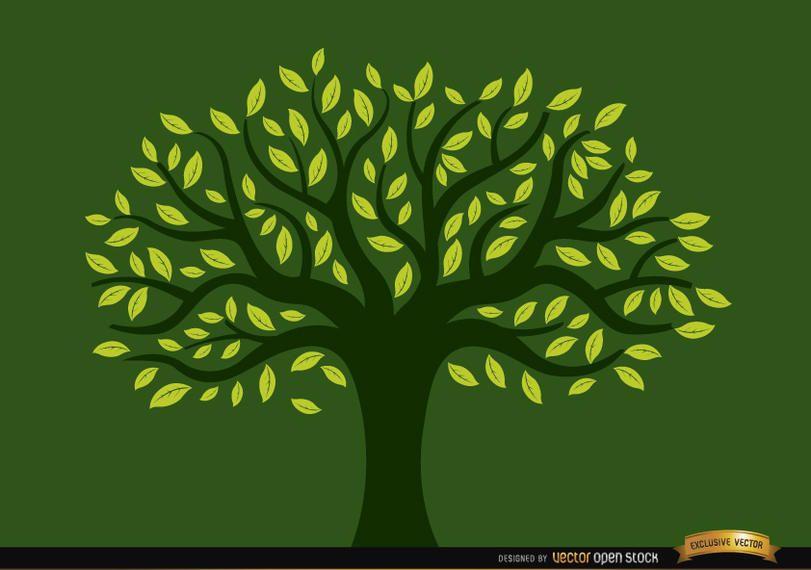 Árvore pintada cheia de folhas amarelas