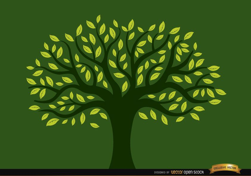 ?rbol pintado lleno de hojas amarillas