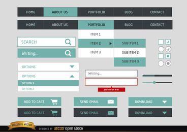 Diseño web de elementos simples del menú.