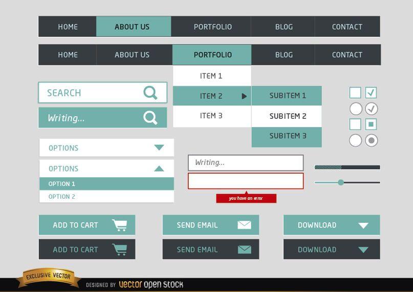 Elementos simples do menu Web design