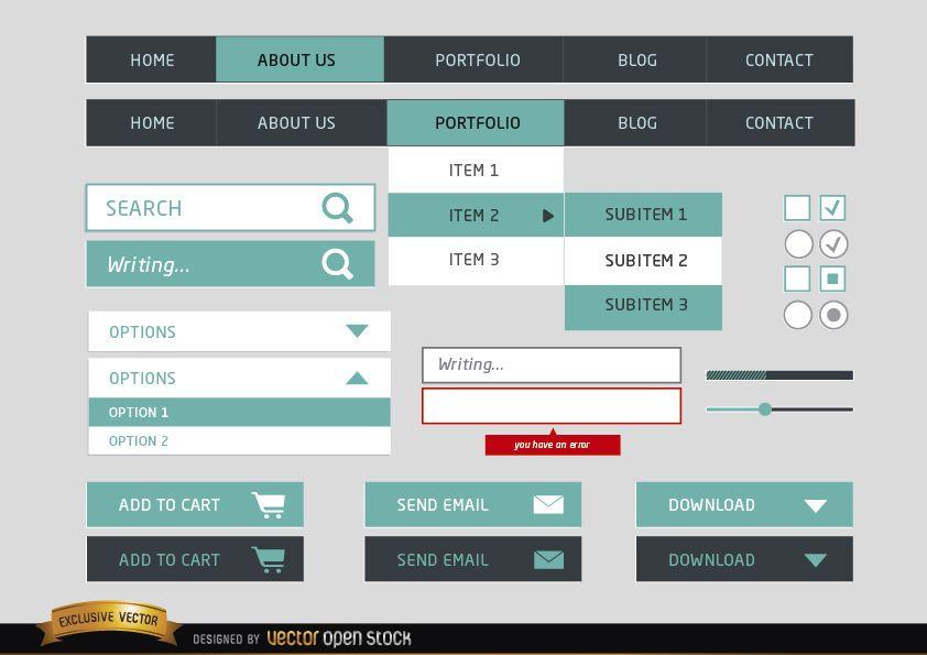 Menú de diseño web elementos simples.