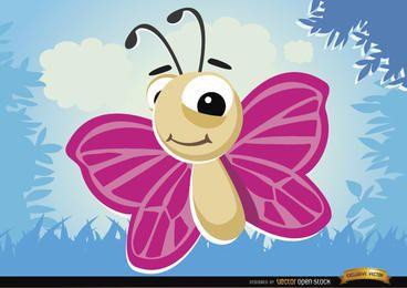 Borboleta de desenho animado voando bug na floresta