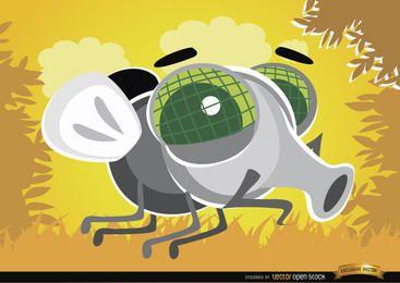 Dibujos animados mosca bug en el aire