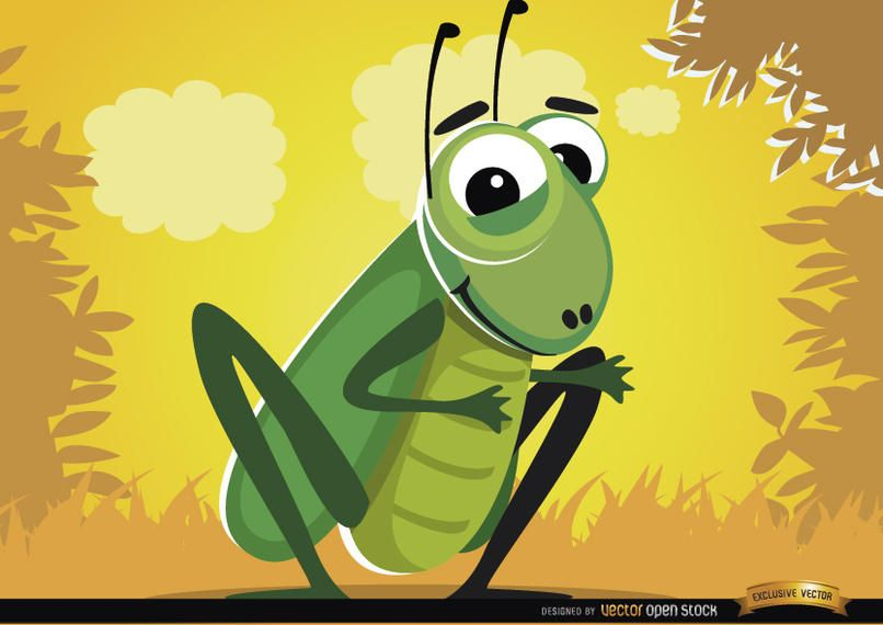 Funny cartoon cricket bug