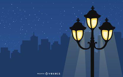Glänzende Weinlese-Laterne in der Nacht