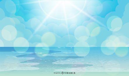 Praia do mar com o céu de luz solar
