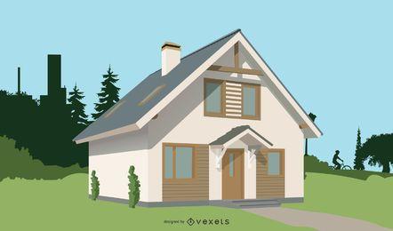 Casa 3D Realista de 2 Almacenes
