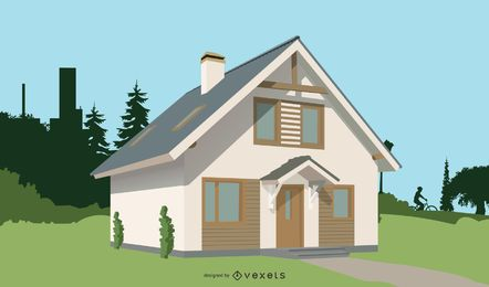 Casa realista 3D 2 almacenada