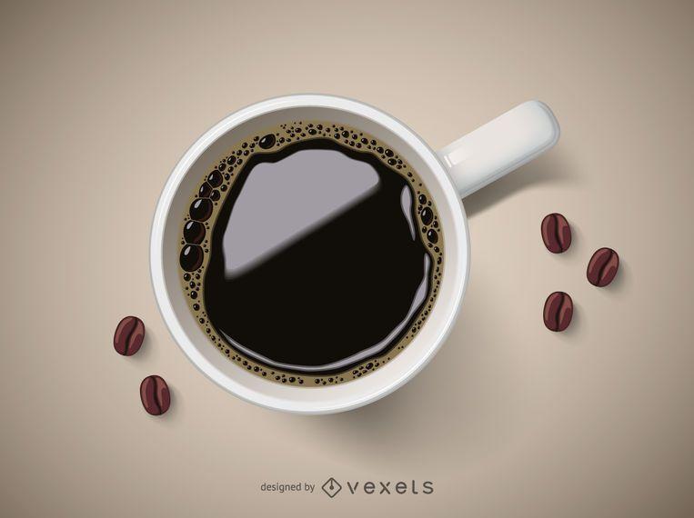 Realistische Tasse Kaffee mit Bohnen