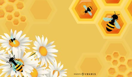 Gráfico floral con abejas de miel