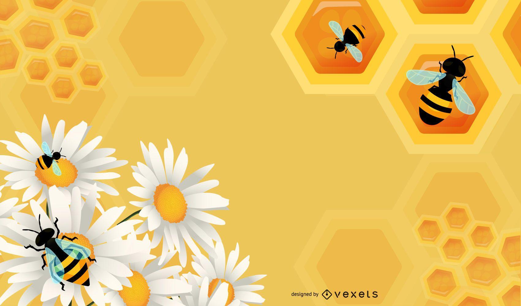 Gráfico floral con abejas