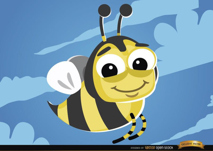 Cartoon Bee flying bug