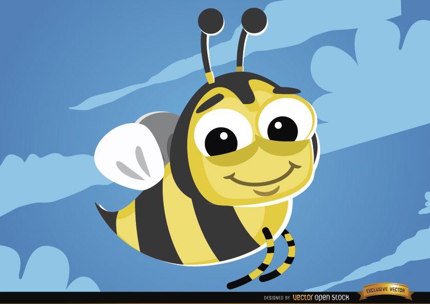 Insecto volador abeja de dibujos animados