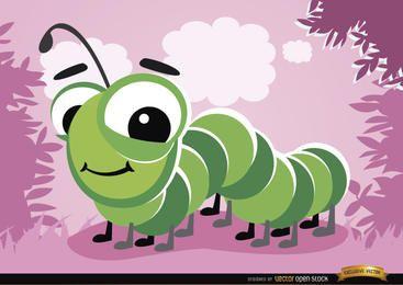 Bug de lagarta dos desenhos animados