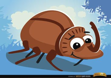 Bug de besouro de rinoceronte de desenhos animados na grama