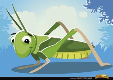 Insecto saltamontes de dibujos animados sobre hierba