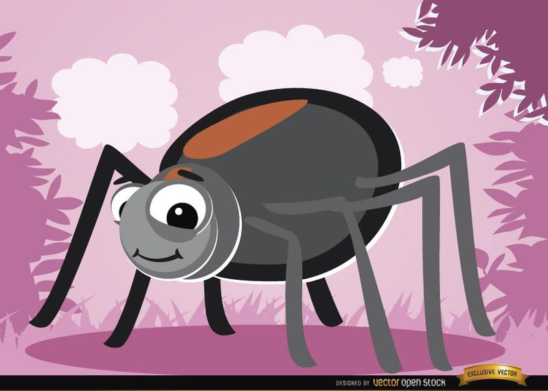 Funny cartoon Spider bug