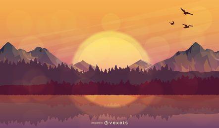 Glühender realistischer Sonnenunterganghimmel