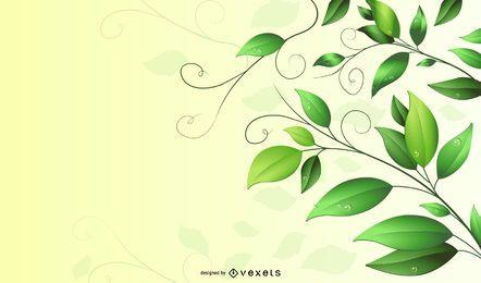 Fundo de folhas e redemoinhos verdes com gota
