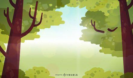 Marco de rama de árbol con fondo de luz solar