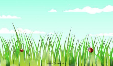 Fundo verde brilhante com gramíneas