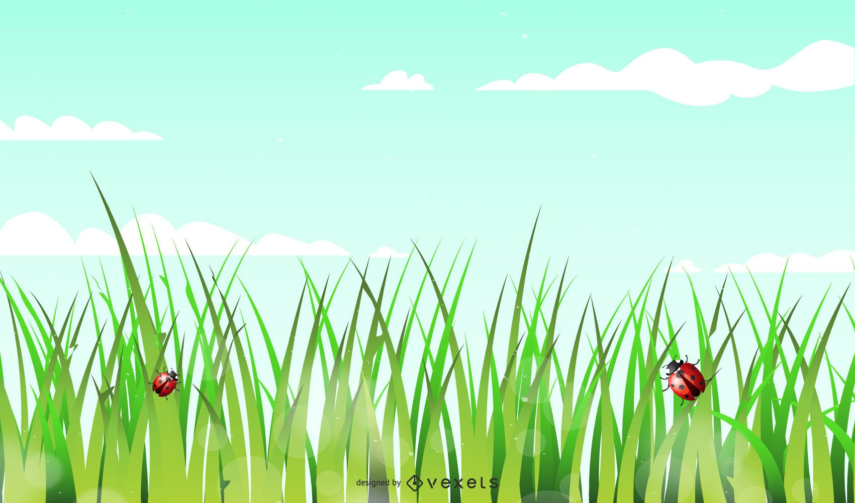 Shiny Green Background with Grasses
