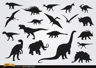 Silhuetas de animais pré-históricos de dinossauros