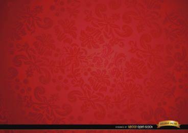 Ornamento floral Fundo vermelho