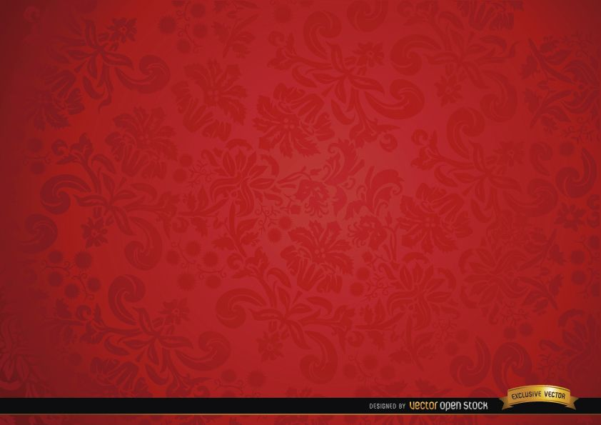 Red floral ornament background