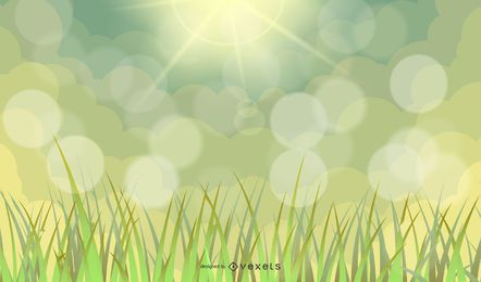 Abstract Green Flower Background with Bokeh