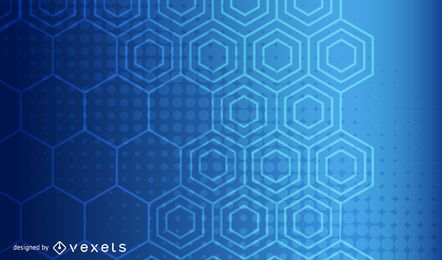 Blue Glow Halftone & Hexagonal Background