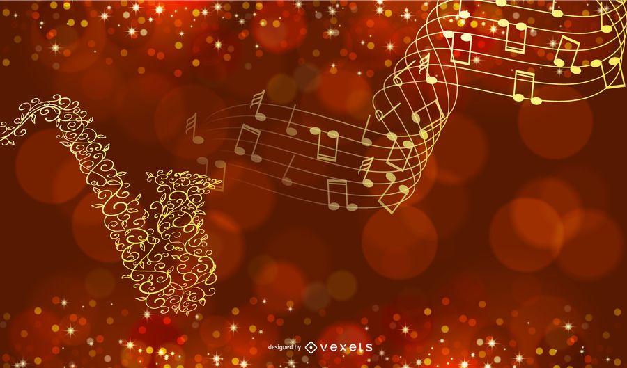 Fondo musical de oro creativo con saxofón