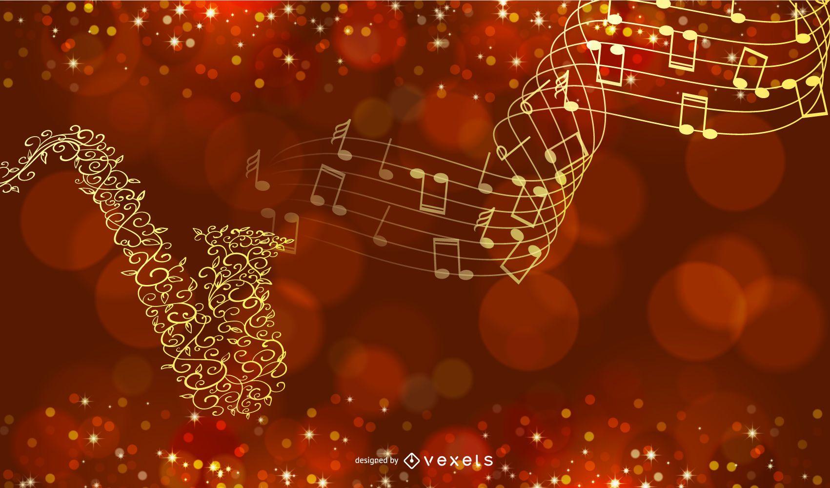 Fondo musical creativo dorado con saxofón