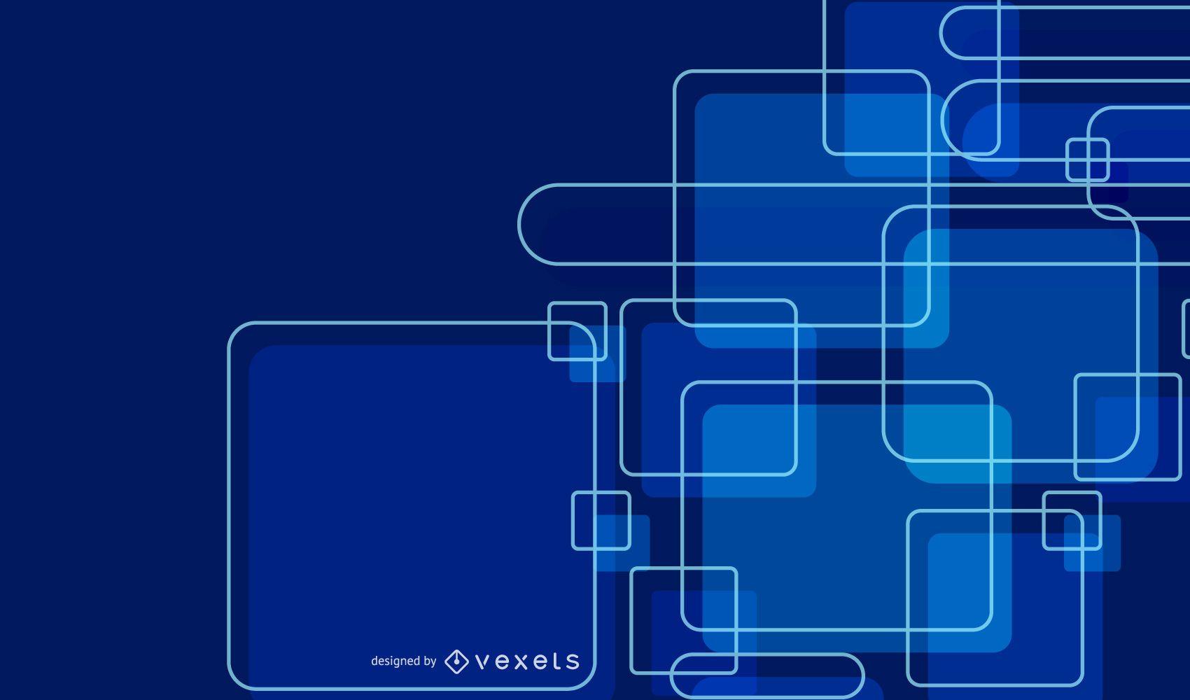 Fondo de cuadrados superpuestos azul brillante abstracto