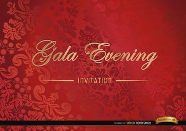 Cartão de convite floral vermelho