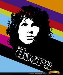 Póster con rayas de color de Jim Morrison Doors