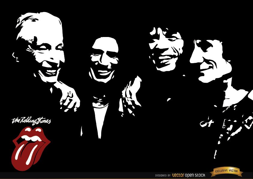Rolling Stones Band Black And White Wallpaper Vector Download