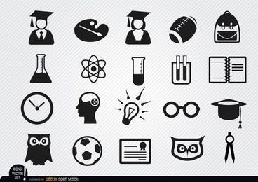 Conjunto de ícones de escola acadêmica