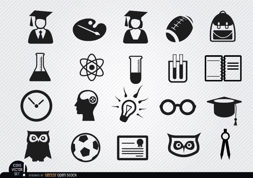 Conjunto de iconos de escuela acad?mica